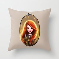 catcher in the rye Throw Pillows featuring Raychel In The Rye by Anna Wintery
