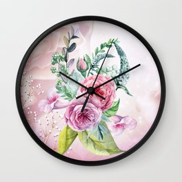Flowers and leaves in soft purple colors Wall Clock