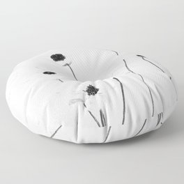 black and white cosmos Floor Pillow