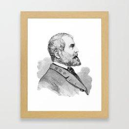 Robert E Lee Portrait Illustration Framed Art Print