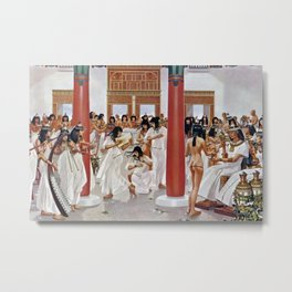 "Classical Masterpiece ""The Court of Pharaoh and the High Priestess"" by H.M. Herget Metal Print"