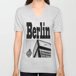 Berlin Clock BW Unisex V-Neck