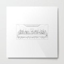 Last Supper Outline Sketch Metal Print
