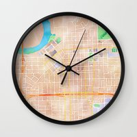 alabama Wall Clocks featuring Montgomery, Alabama by Emily Day