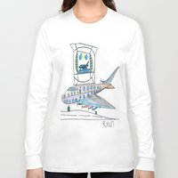 channel Long Sleeve T-shirts featuring The Airplane Channel by Ryan van Gogh