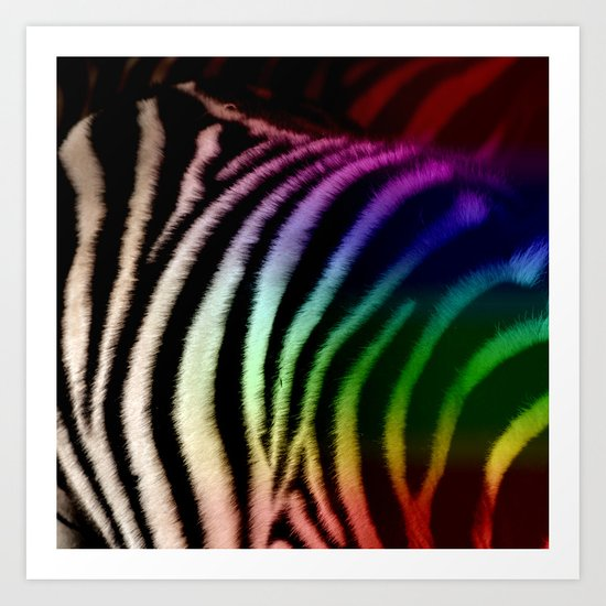 White rainbow zebra print