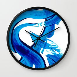 Pure Water 302 - Blue Abstract Art By Sharon Cummings Wall Clock