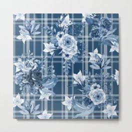 Elegant Blue Floral Plaid Metal Print