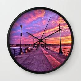 Sunrise Huntington Beach Pier   11/12/13 Wall Clock