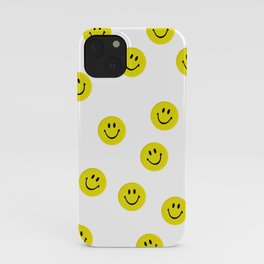 Yellow Acid Smiley Pattern - 90s rave music poster iPhone Case