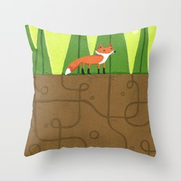 Earth Fox Throw Pillow