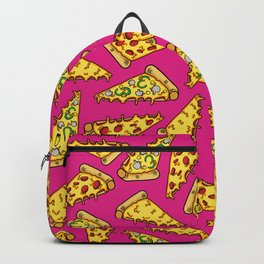 Pizza Slices on Pink - Cheesy, Warm, Gooey, Goodness Backpack