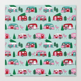Camper vacation christmas road trip tropical home away from home pattern Canvas Print