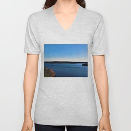 Aerial View of the Scituate Reservoir, Scituate, Rhode Island Unisex V-Neck
