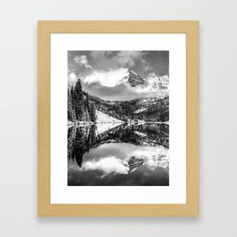 Maroon Bells - Black and White Framed Art Print