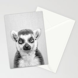 Lemur 2 - Black & White Stationery Cards