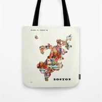 boston map Tote Bags featuring boston map by bri.buckley