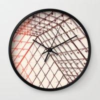 pyramid Wall Clocks featuring pyramid by shannonblue