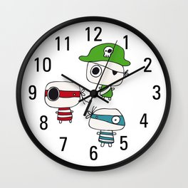Two Pirates and the Green Pirate Captain Wall Clock