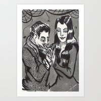 Morticia and Gomez Addams Art Print