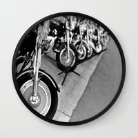 bikes Wall Clocks featuring Bikes by M. Gold Photography