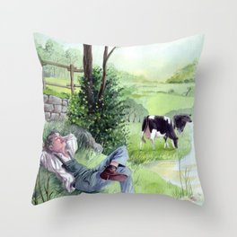Bucolic landscape - The shepherd's rest - Countryside and cows Throw Pillow
