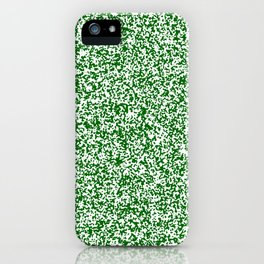 Tiny Spots - White and Dark Green iPhone Case