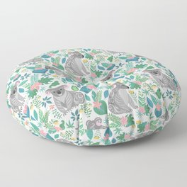 Cute gray koalas with ornaments, tropical flowers and leaves. Seamless tropical pattern. Floor Pillow