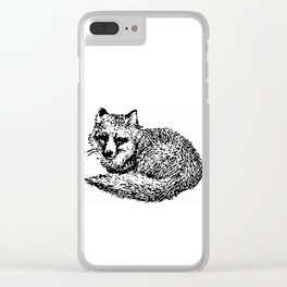 Cool old black and White vintage fox design Clear iPhone Case