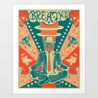 breathe Art Prints featuring BREATHE by Jazzberry Blue