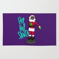 hip hop Area & Throw Rugs featuring Hip Hop Santa by Chelsea Herrick