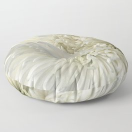 Ivory White Feathery Mums Floral Photo Floor Pillow