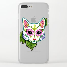 White Cat - Day of the Dead Sugar Skull Kitty Clear iPhone Case
