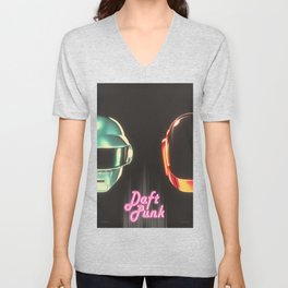 Fan Made Daft Punk Poster  Unisex V-Neck