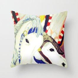 Carousel Horses Seaside Amusements Fine Art Throw Pillow