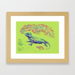 Fire-Breathing Lizard Friend Framed Art Print