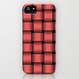 Large Light Red Weave iPhone Case