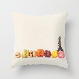 Paris, macaron and the eiffel - Vintage version Throw Pillow