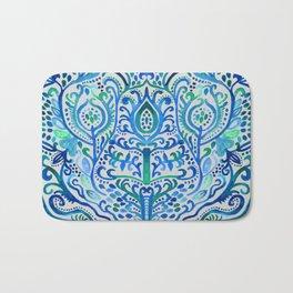 Sapphire and Emerald Watercolor Tulip Damask Bath Mat