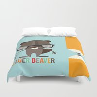 beaver Duvet Covers featuring Eager Beaver by Steph Dillon