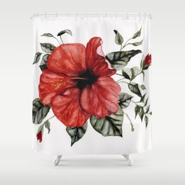 Blooming Red Hibiscus Shower Curtain