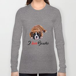 I Love Boxers Boxer Puppy Photo Long Sleeve T-shirt