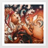 Hippy Lion Art Print