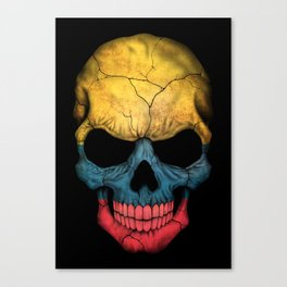 Dark Skull with Flag of Colombia Canvas Print