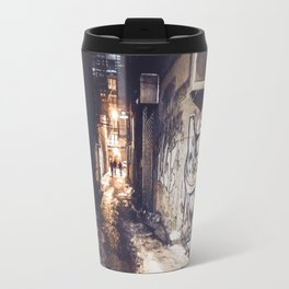 Lower East Side - Midnight Warmth on a Snowy Night Travel Mug