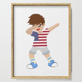 Lets Dabb and Have fun in the US as a boy or kid Serving Tray