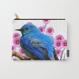 DECORATIVE BLUE BIRD & PINK HOLLYHOCKS VIGNETTE Carry-All Pouch