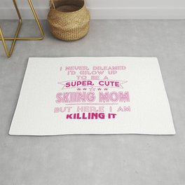 SUPER CUTE A SKIING MOM Rug
