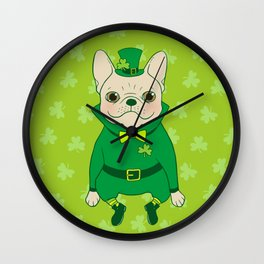 Cute French Bulldog is Feeling Lucky on St. Patrick's Day Wall Clock