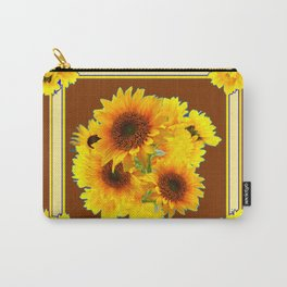 CHOCOLATE BROWN YELLOW SUNFLOWER BOUQUETS Carry-All Pouch